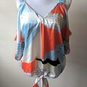 Multicolor Relaxed Tie-front Off Shoulder Blouse